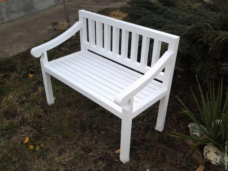 """Купить скамейка в стиле """"прованс"""" - скамейка прованс, белая скамейка, скамейка для декупажа, садовая скамейка"""