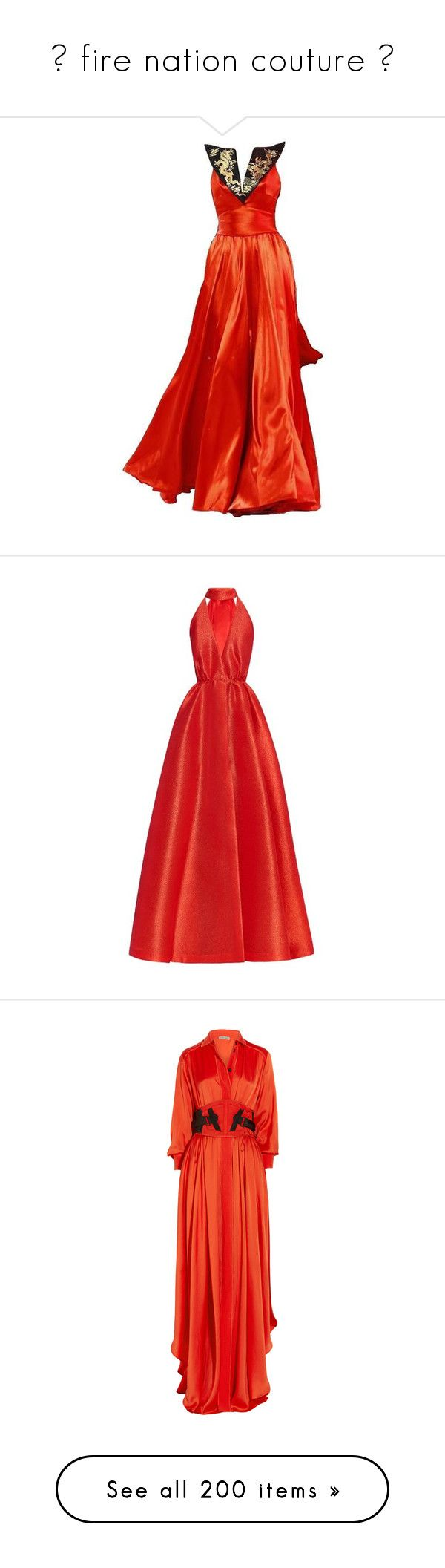 """""""✖ fire nation couture ✖"""" by misandryandme ❤ liked on Polyvore featuring gowns, dresses, tumblr, edited, long dress, vestidos, long dresses, red, cut out maxi dress and long maxi dresses"""