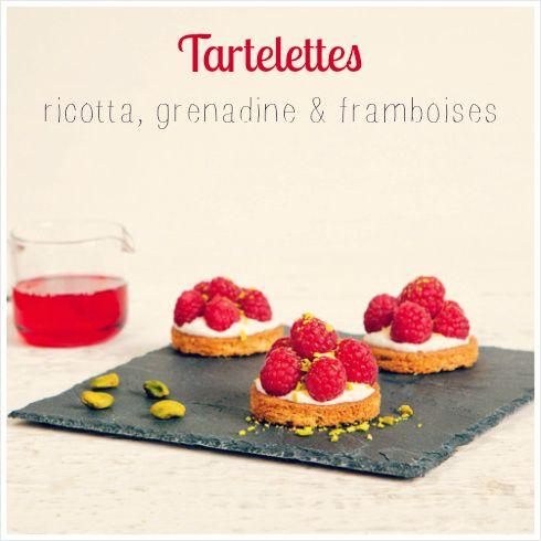 #Recette : Tartelettes ricotta, grenadine, framboises et petits sablés