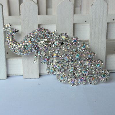 Lager Silver Crystal AB Rhinestone Brooch Big Peacock Brooches For Women Wedding Bouquets Clip Scarf Buckle Hijab Pins 09014
