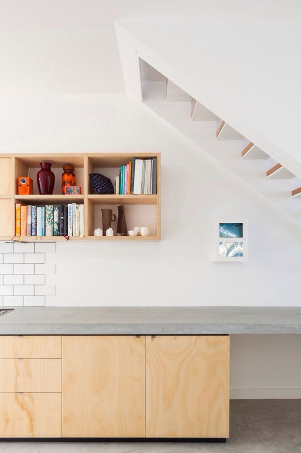 Could we do something clever here? extend the worktop into the stair? might be a bit try hard?