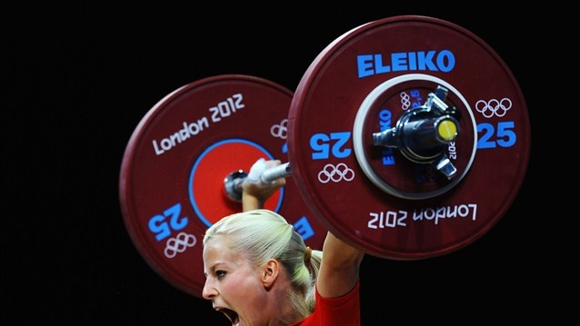 Julia Rohde of Germany competes in the women's 53kg Group B Weightlifting on Day 2 of the London 2012 Olympic Games at ExCeL.