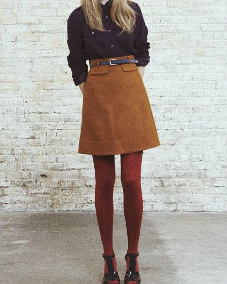 Vintage style indie alternative suede skirt with belt and tights