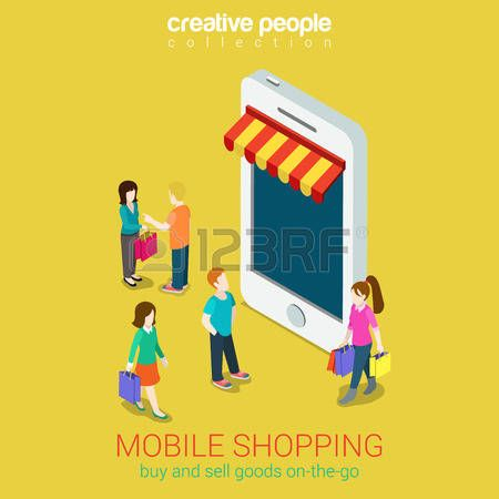store isometric: Mobile shopping e-commerce online store flat 3d web isometric infographic concept vector and electronic business, sales, black friday. People walk on the street between stores boutiques like phones tablets. Illustration