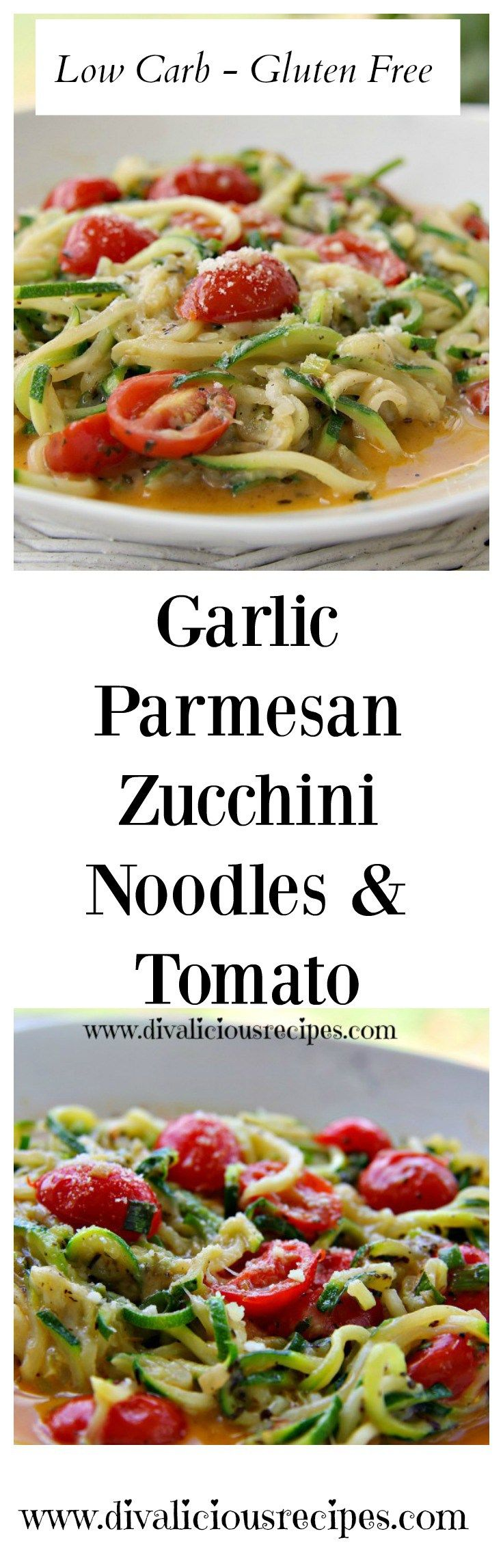 Zucchini noodles in a creamy Parmesan cheese sauce with tomatoes and added garlic. A quick and easy lunch to make in minutes. Recipe - http://divaliciousrecipes.com/2016/04/07/garlic-parmesan-zucchini-noodles-tomato/