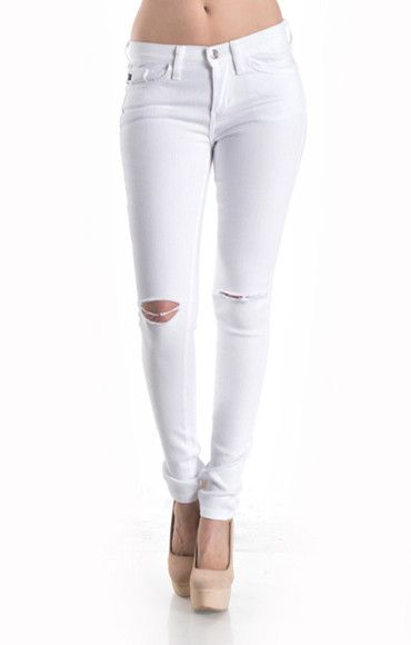 - White Distressed Knee Jean - 97% Cotton 3% Spandex MADE IN CHINA