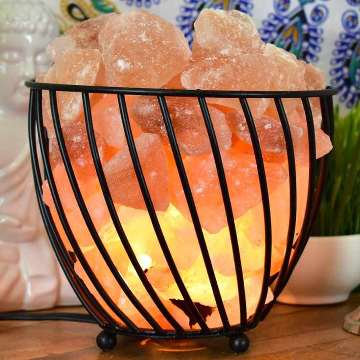 Basket Salt Crystal Lamp
