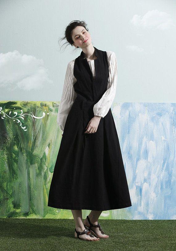 Vestido negro largo vestido de lino / Maxi por camelliatune en Etsy