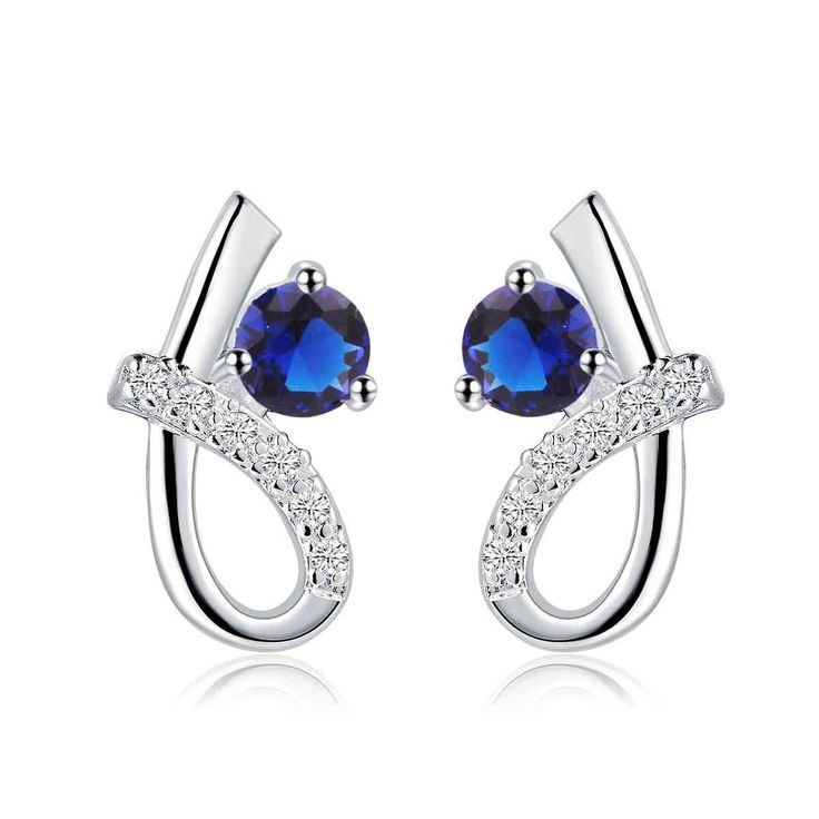 Free Shipping  New Sale  silver plated earing S shape blue stone stud ear cuff 100% Hand Madeball