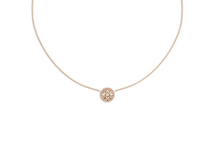 Rose des vents necklace, 18k pink gold, diamond and pink opal - Dior