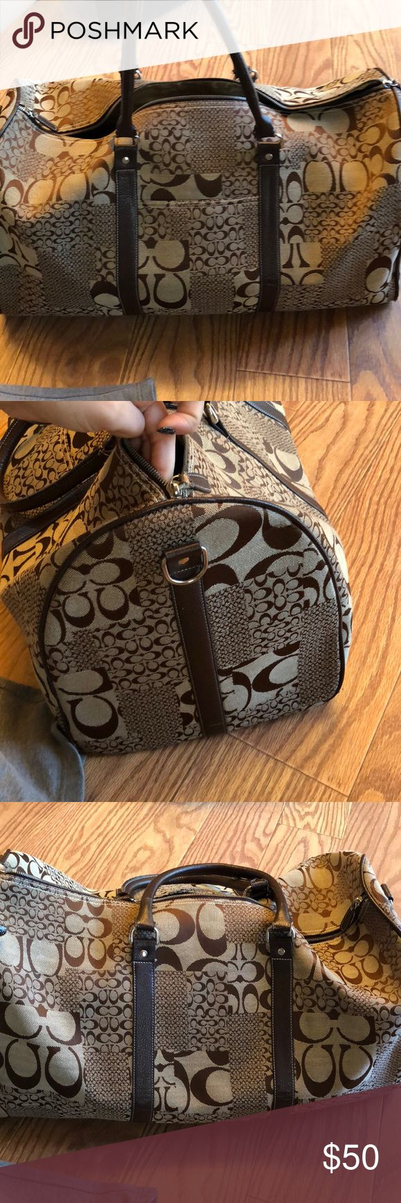 Coach duffle bag! Used Coach duffle bag, but still in great condition. The leather zipper is used greatly, but still works or could even be replaced if wanted to. Also comes with a leather strap to be carried across the body. Coach Bags Travel Bags