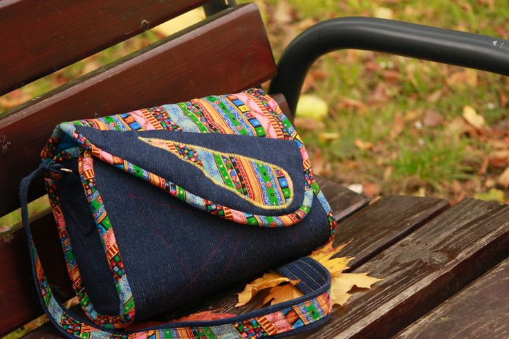 The bag made of denim and cotton.