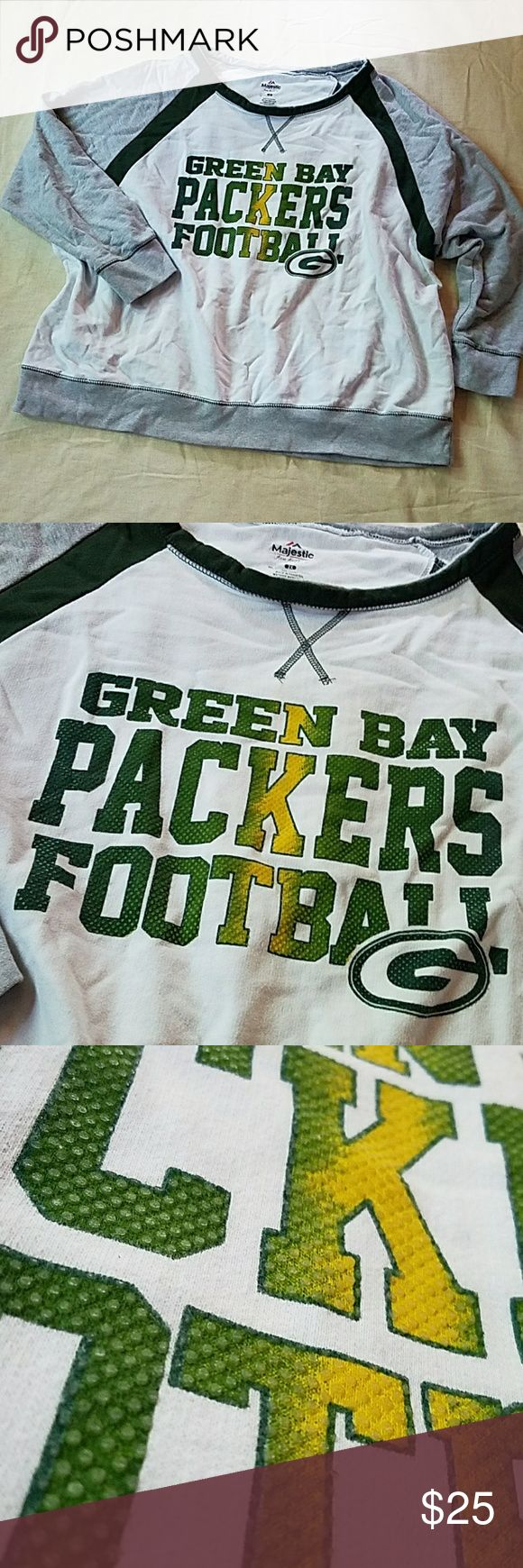 """Green Bay Packers sweatshirt Heavyweight cotton sweatshirt. Green, gold, white and heather grey. Minor pill.  Size 2X. Bust measures 29"""" flat.   There are a few fabric defects on the back as shown in the last pic. Tops Sweatshirts & Hoodies"""
