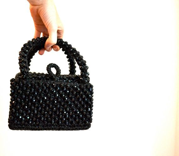 VIntage 50s 60s Beaded Clutch Handbag Purse Box by Hookedonhoney
