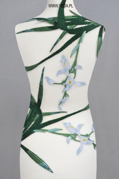 Aplikacja ML95221 BLUE GREEN Haft do przyszycia między innymi na suknie, koszule, spódnice, płaszcze.