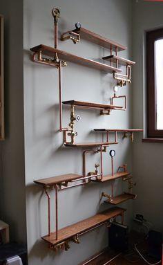10 idées pour donner un style industriel à votre salle de bain #industrial #bathroom #sdb #WeLoftYou  #Steampunk #pipedecor #tuyau #étagère  http://www.novoceram.fr/blog/news/10-idees-style-industriel-salle-de-bain