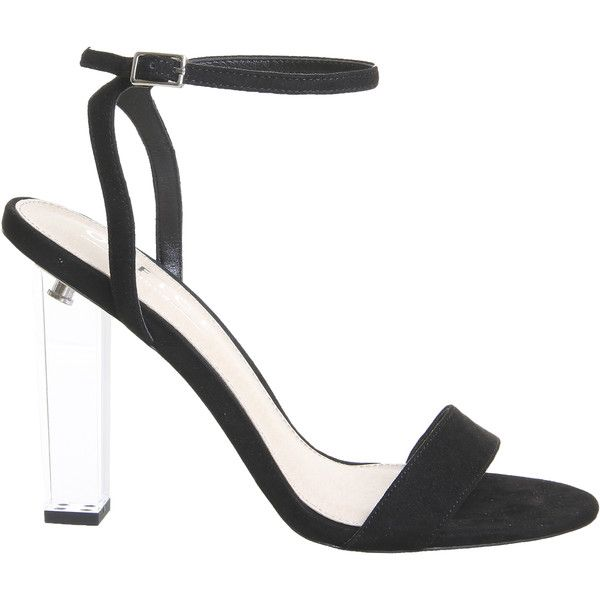 Office Hover Perspex Heel Sandals Black ($82) ❤ liked on Polyvore featuring shoes, sandals, perspex heel sandals, clear heel shoes, kohl shoes, clear heel sandals and black shoes