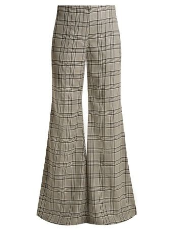 Rife checked kick-flare wool trousers