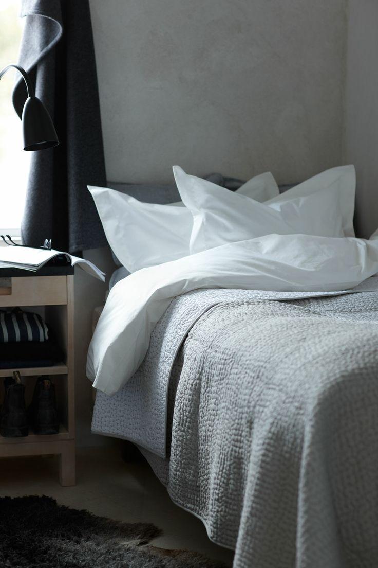 Linum White/Grey Stitch Bedspread