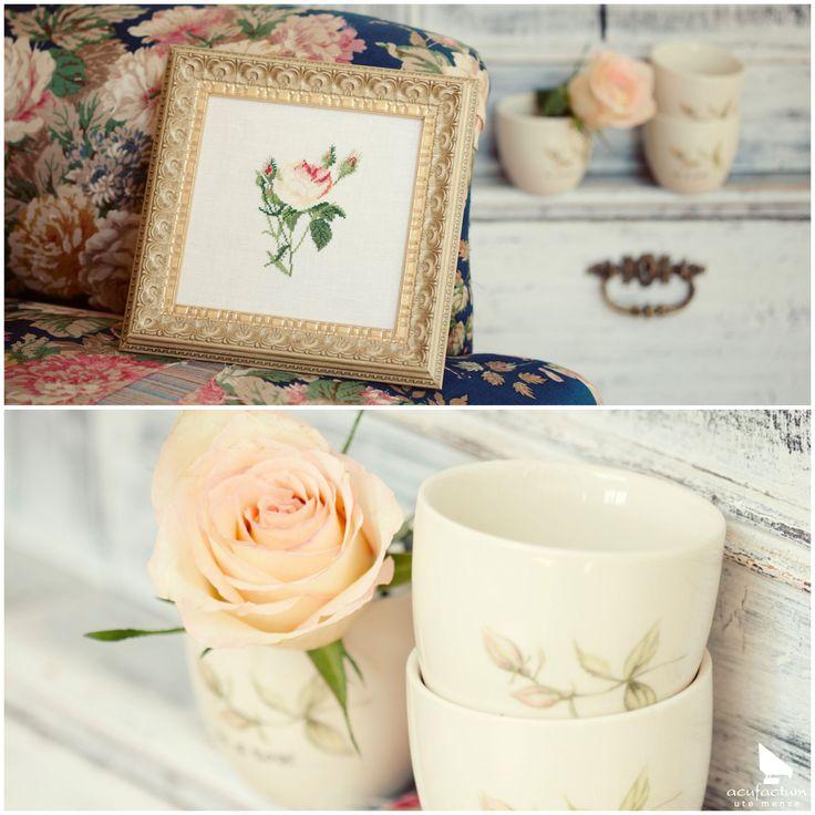"""Aus dem Buch """"All die schönen Dinge"""" #acufactum #regnerischetage #gemütlich #sticken #kreuzstich #sommer #schön #rosen #rainydays #cozy #embroider #crossstitch #summer #pretty #roses"""