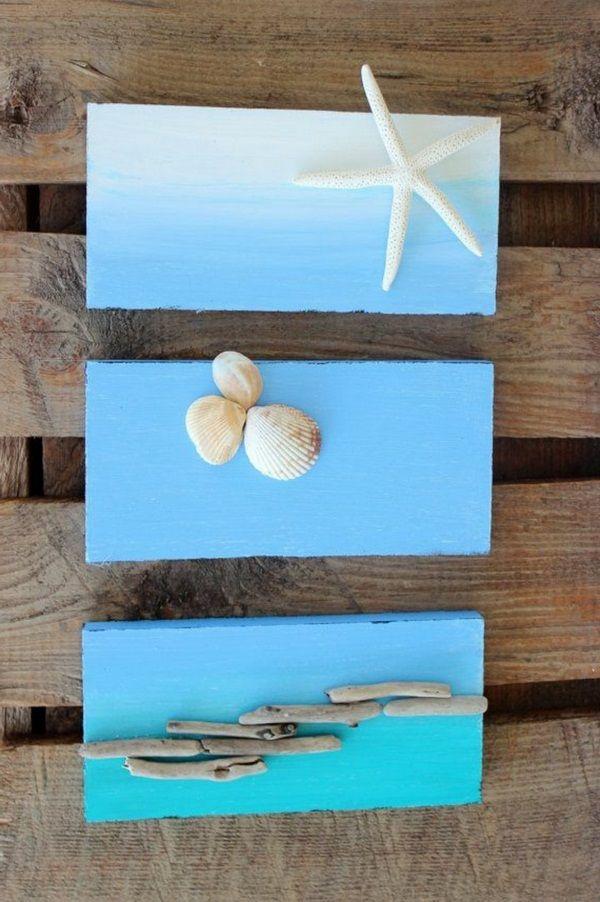 coquilles déco maritimes étoile de mer fond bleu et nuances
