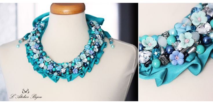 Blue flowers necklace #statement #jewelry #creative #custom #design #style #fashion