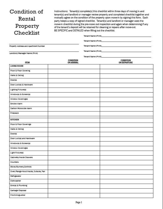 Inventory Checklist Template Rental Inspection Checklist Checklist Template Being A Landlord