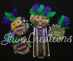 New Orleans- Mardi Gras themed baby shower pin/mum/corsage set in purple, green, and gold #JhisCreations