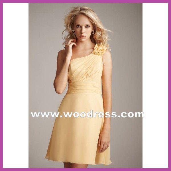 A-line una spalla Chiffon breve giallo abiti damigella d'onore stile 1228