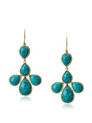 62% OFF Argento Vivo Turquoise Petal Drop Earrings