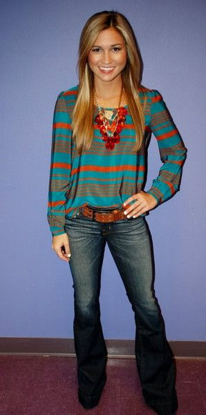 turquoise and rust striped shirt + flare jeans