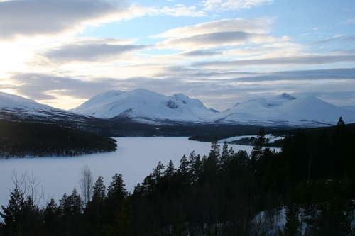 the famous view in winter, lake Atna frozen over