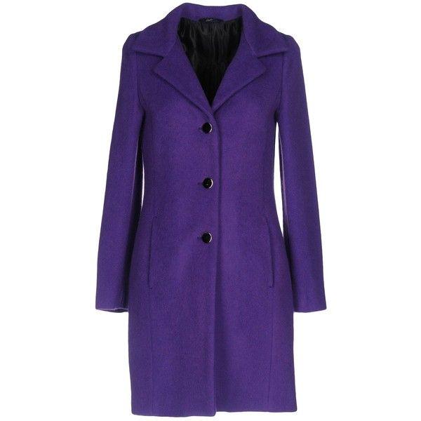 Carla G. Coat ($205) ❤ liked on Polyvore featuring outerwear, coats, purple, collar coat, velour coat, long sleeve coat, purple coat and lapel coats