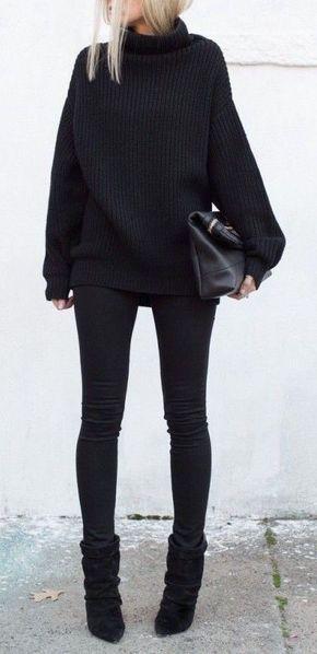 #winter #fashion / black turtleneck knit More