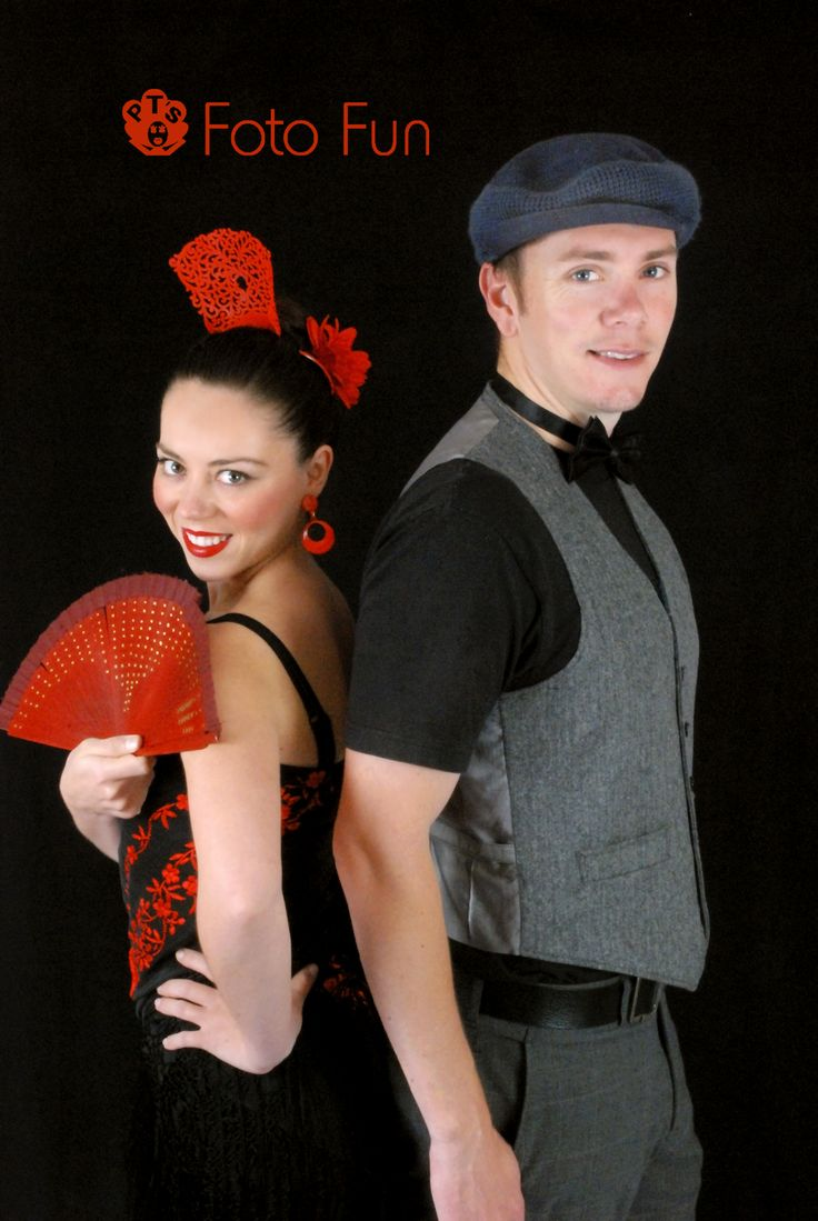 Flamenca Spanish girl and British lokking man posing