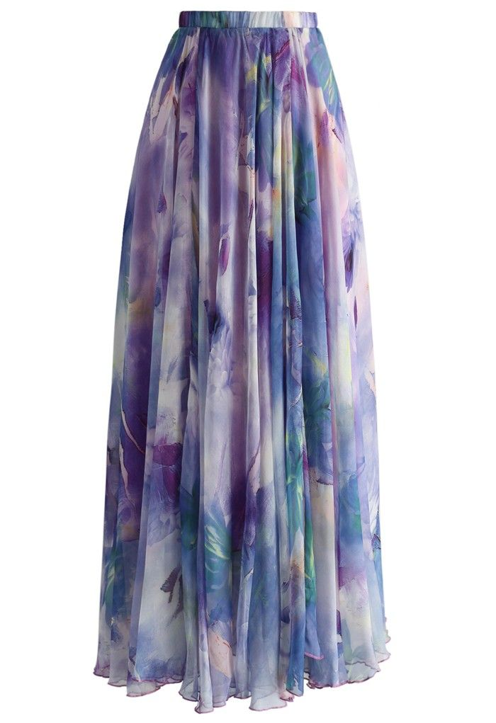 Dancing Watercolor Floral Maxi Skirt in Violet - CHICWISH SKIRT COLLECTION - Skirt - Bottoms - Retro, Indie and Unique Fashion