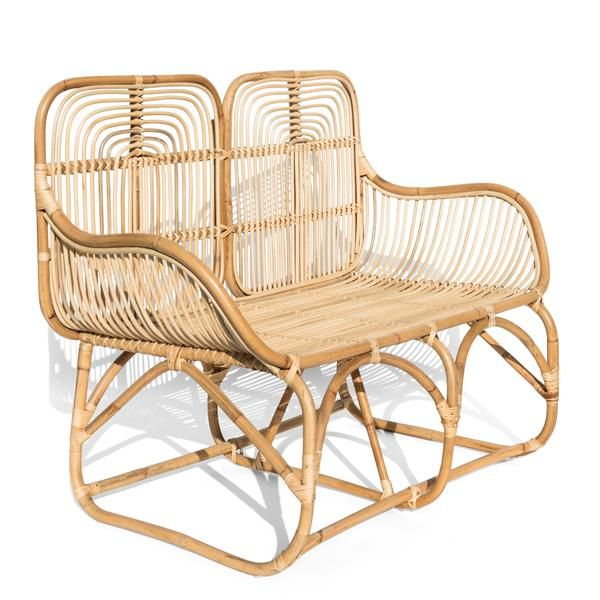 Rounded Loveseat With Rattan Frame And Backing For Indoor Or Covered Outdoor Use Handmade With Lots Of Love B Vintage Rattan Furniture Rattan Loveseat Rattan