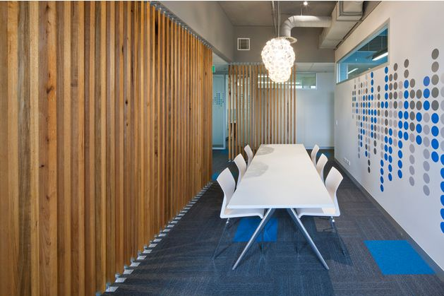 Timber Feature Wall For Boardroom To Tie In With Kicthen