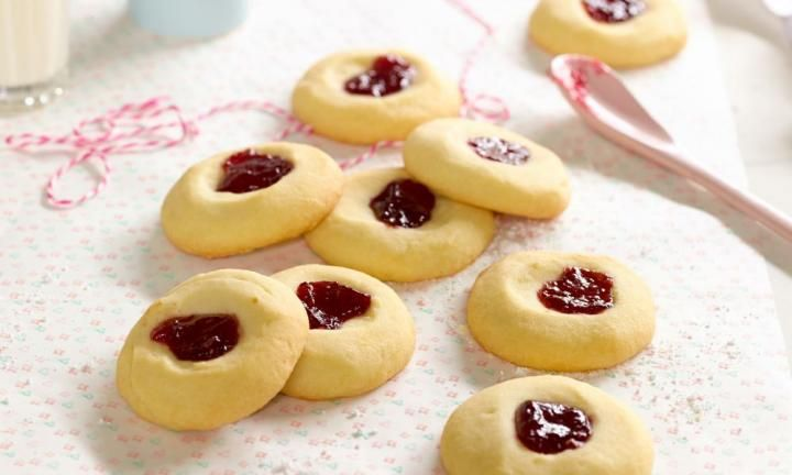 This basic biscuit recipe is always winner, with gooey jam adding flair and fun to a buttery shortbread-style base.