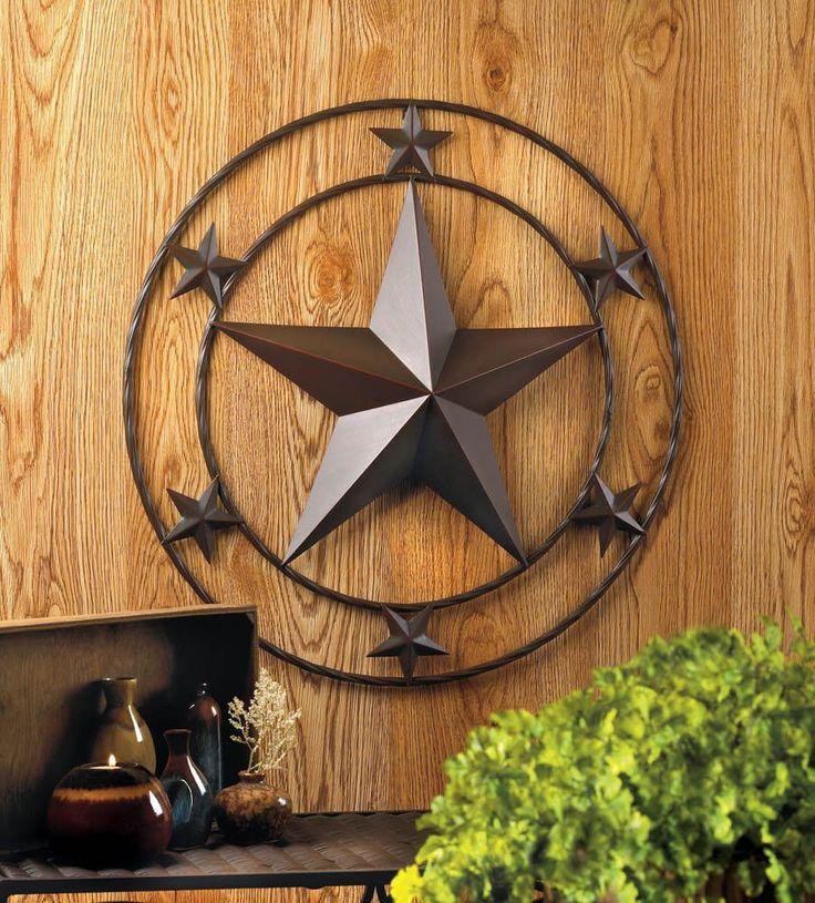 "24"" Texas Lone Star Metal Wall Art Rustic Cowboy Country Western Decor"