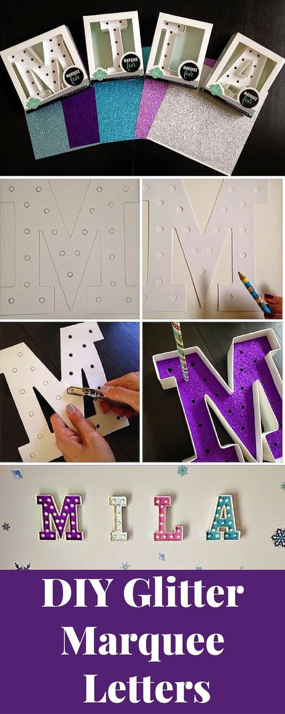 Create custom marquee letters! These glitter letters look so cute in my daughters room and they have a battery pack so you don't see any wires! (& I can change the background out to change with her room!)