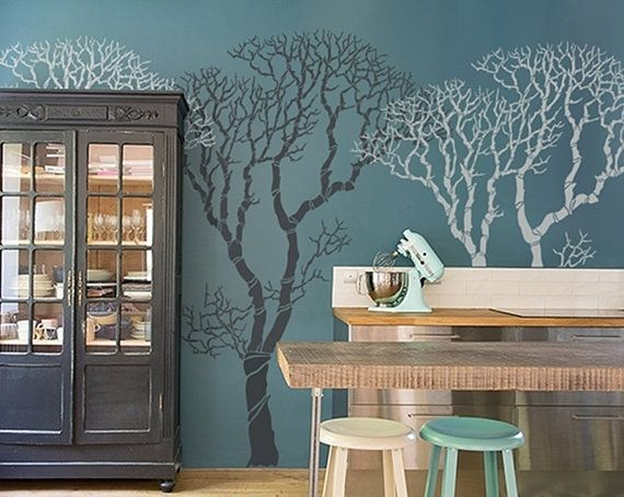 17 meilleures id es propos de pochoirs de mur d 39 arbre sur pinterest photos de murs de. Black Bedroom Furniture Sets. Home Design Ideas