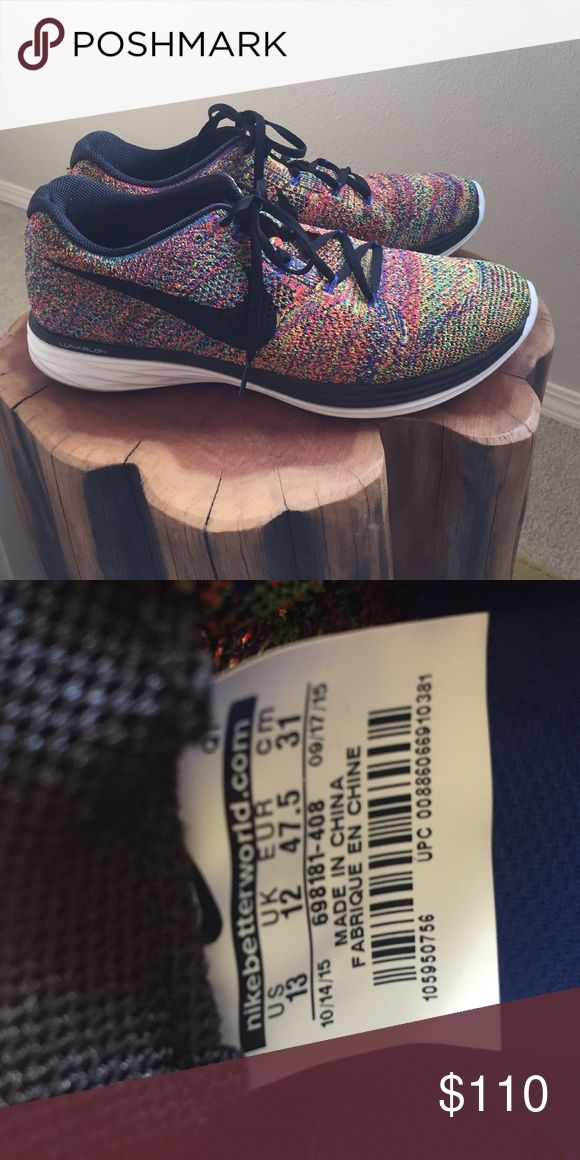 Nike lunar 3 flyknit Lunar 3 flyknit multi color. Great condition Nike Shoes Athletic Shoes