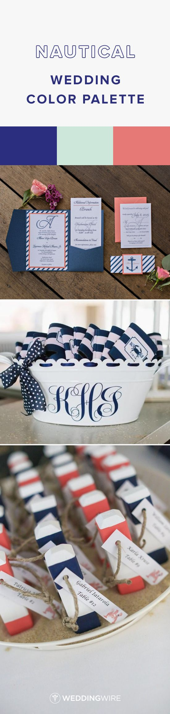 Nautical Wedding Color Palette - Navy, Mint and Coral Wedding Color Palette - see more wedding color palette ideas on @WeddingWire {Shoreshotz Photography; Natalie Franke Photography; The Maine Tinker Studio}