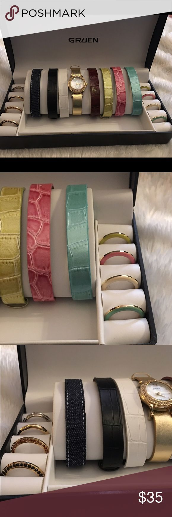 Gruen watch set with 8 bands & 9 face rings Gruen watch set with 8 interchangeable watch bands and 9 interchangeable twist on face rings. Gold toned. Needs new battery. Otherwise in working order and in excellent condition! Like New!💕 Gruen Accessories Watches