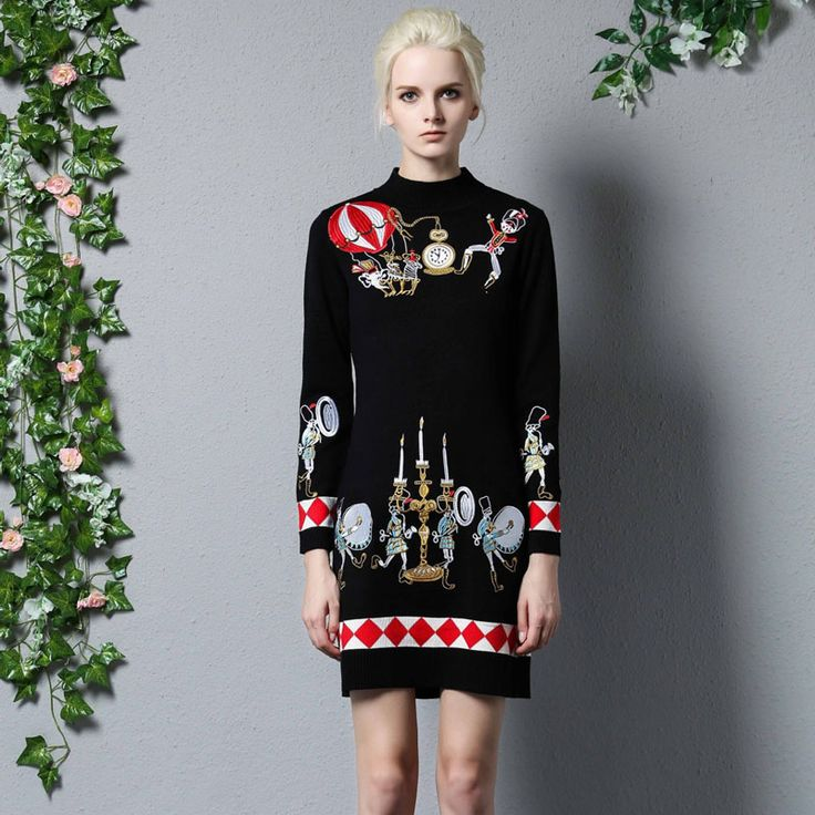 2016 Fall Winter Dress Women High Quality Designer Runway Sweater Dresses Long Sleeve Plus Size Slim Sheath Knitting Dress Woman