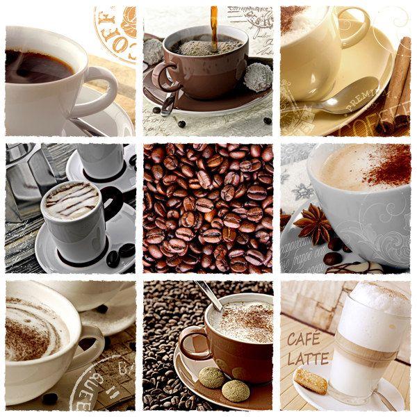 #Kaffee #Lattemacchiato #Cappuccino #Tassen #Collage #Cafe #Coffee #Latte #Cups #Beans
