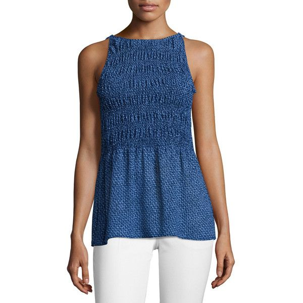 MICHAEL Michael Kors Arashi Smocked-Front Printed Top ($105) ❤ liked on Polyvore featuring tops, new navy, smock tops, blue pullover, button back top, sleeveless pullover and sweater pullover