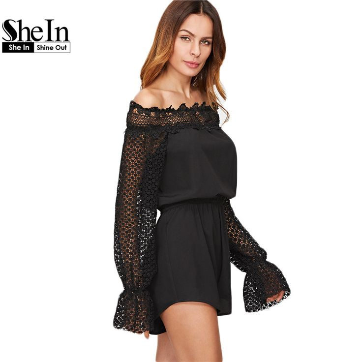 SheIn Rompers Womens Jumpsuit Ladies Beach Black Off The Shoulder Dotted Crochet Long Sleeve Elastic Waist Romper