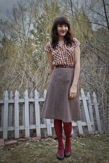 this whole outfit is the best - maroon checked shirt, tweed a-line skirt, maroon tights and brown t-strap shoes!